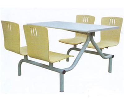 连体四人曲木餐桌